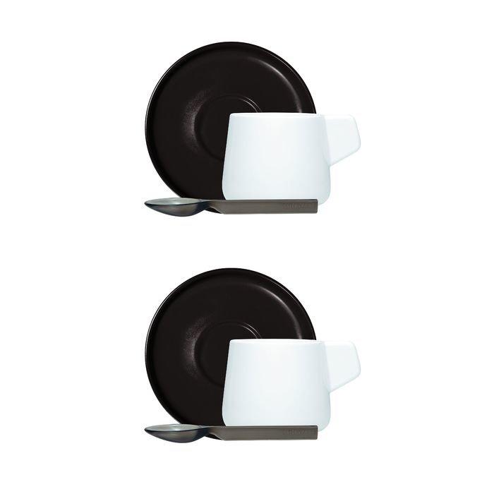 Кофейный набор viceversa «iachetti», 2 чашки + 2 молочника + 2 ложки, черный