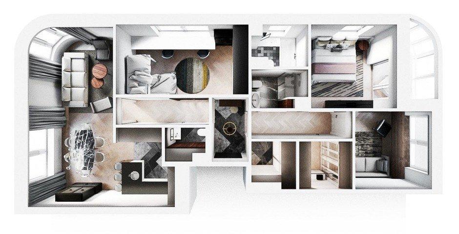 Планировка квартиры в ЖК «Символ», дизайн Aiya Design