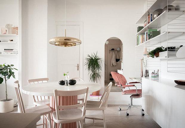 Фотография: Кухня и столовая в стиле Скандинавский, Современный, Декор интерьера, Квартира, Белый, Розовый, 40-60 метров – фото на INMYROOM