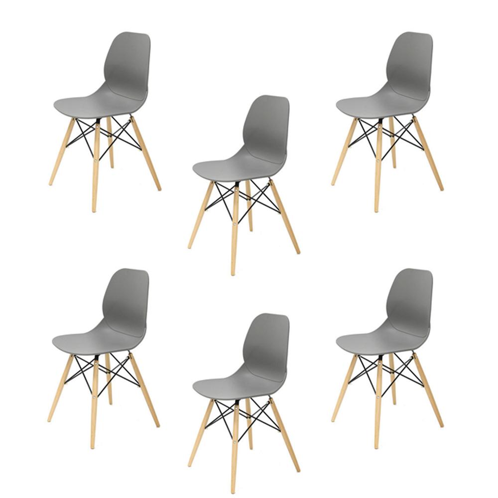 Купить Набор из шести стульев на деревянных ножках серого цвета, inmyroom, Китай