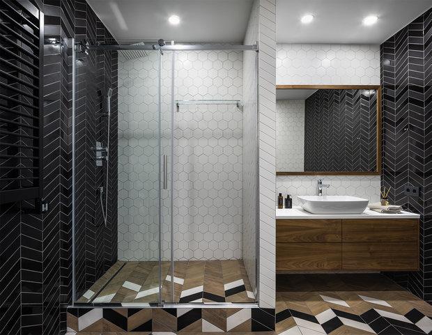 Фотография: Ванная в стиле Современный, Советы, Гид, отделка стен в ванной, интересная плитка в ванной, плитка в ванной – фото на INMYROOM
