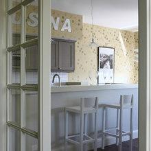 Фотография: Кухня и столовая в стиле Современный, Ванная, Квартира, Цвет в интерьере, Дома и квартиры, Белый, Зеленый, Синий – фото на InMyRoom.ru