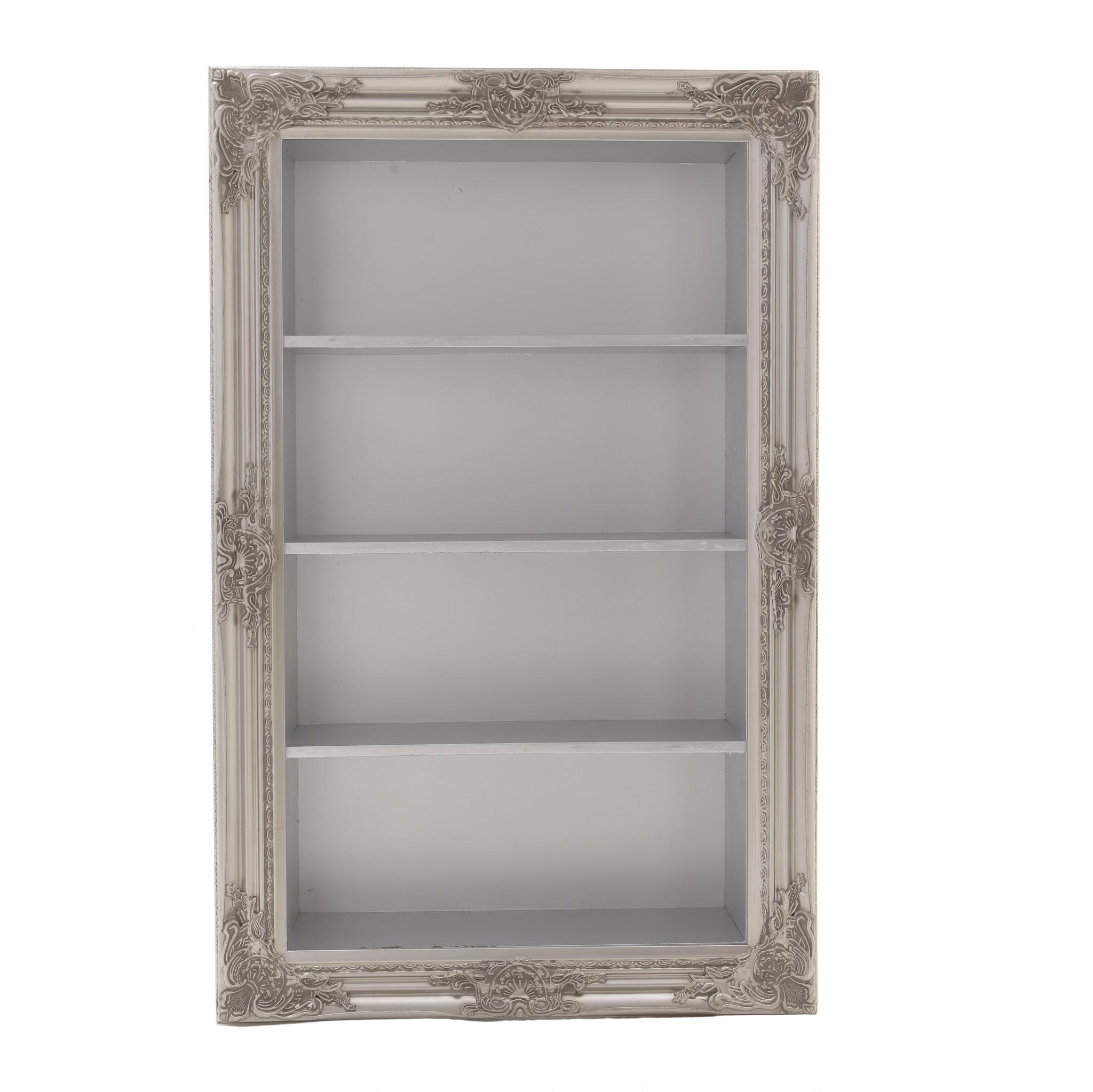 Стеллаж-витрина настенный серебристого цвета