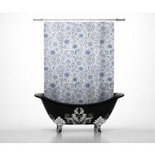 Шторы для ванной: Голубые узоры
