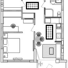 Фотография: Планировки в стиле , Проект недели, Киев, 2 комнаты, 40-60 метров, Александр Власик, ЖК «Зеленый остров-2» – фото на InMyRoom.ru