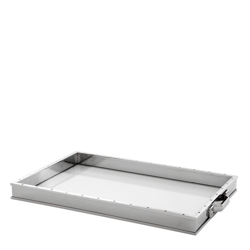 Поднос Trouvaille Eichholtz из никелированного металла и прозрачного стекла