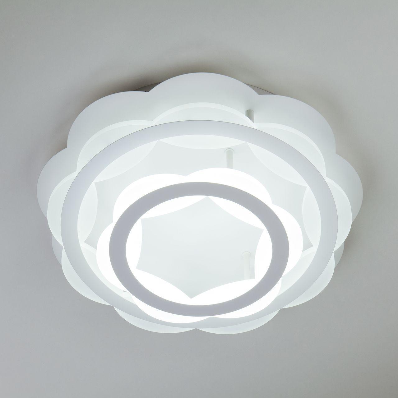 Купить Потолочный светодиодный светильник с пультом ду Eurosvet Corona белый, inmyroom, Россия