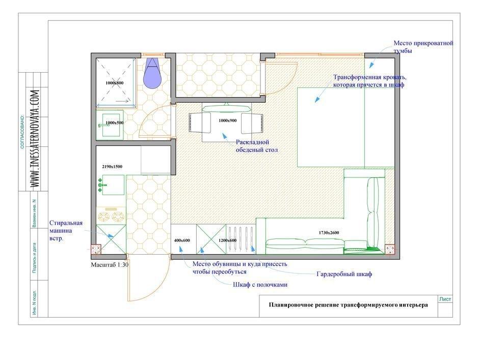 Фотография: Планировки в стиле , Современный, Квартира, Студия, Проект недели, Эко, Сочи, Инесса Терновая, Монолитный дом, до 40 метров – фото на InMyRoom.ru