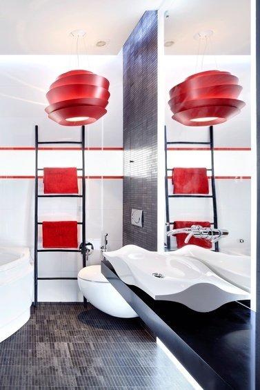 Фотография: Ванная в стиле Хай-тек, Квартира, Цвет в интерьере, Дома и квартиры – фото на INMYROOM