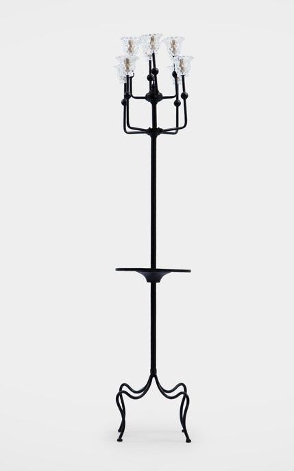 Лампа напольная из металла с круглой полочкой, inmyroom  - Купить