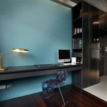 Фотография: Кабинет в стиле Лофт, Квартира, Цвет в интерьере, Дома и квартиры, Черный, Красный – фото на InMyRoom.ru