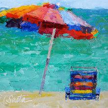 Картина (репродукция, постер): Sun chair and umbrella - Лесли Саета