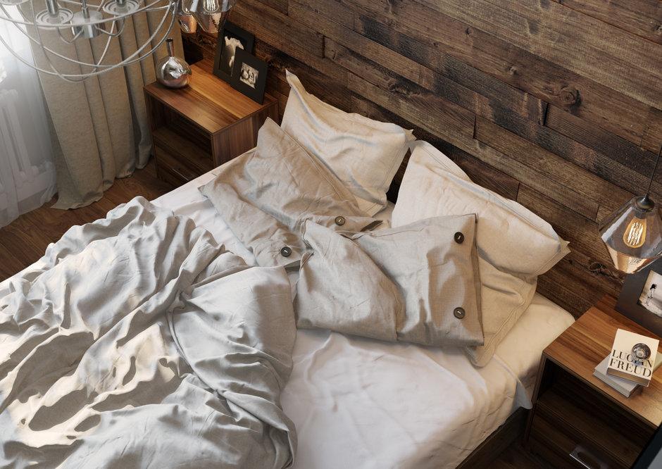 Фотография: Спальня в стиле Современный, Эклектика, Квартира, Проект недели, Одинцово, без перепланировки, Старый фонд, Denew Interior Studio, Кирпичный дом, 3 комнаты, 60-90 метров – фото на InMyRoom.ru