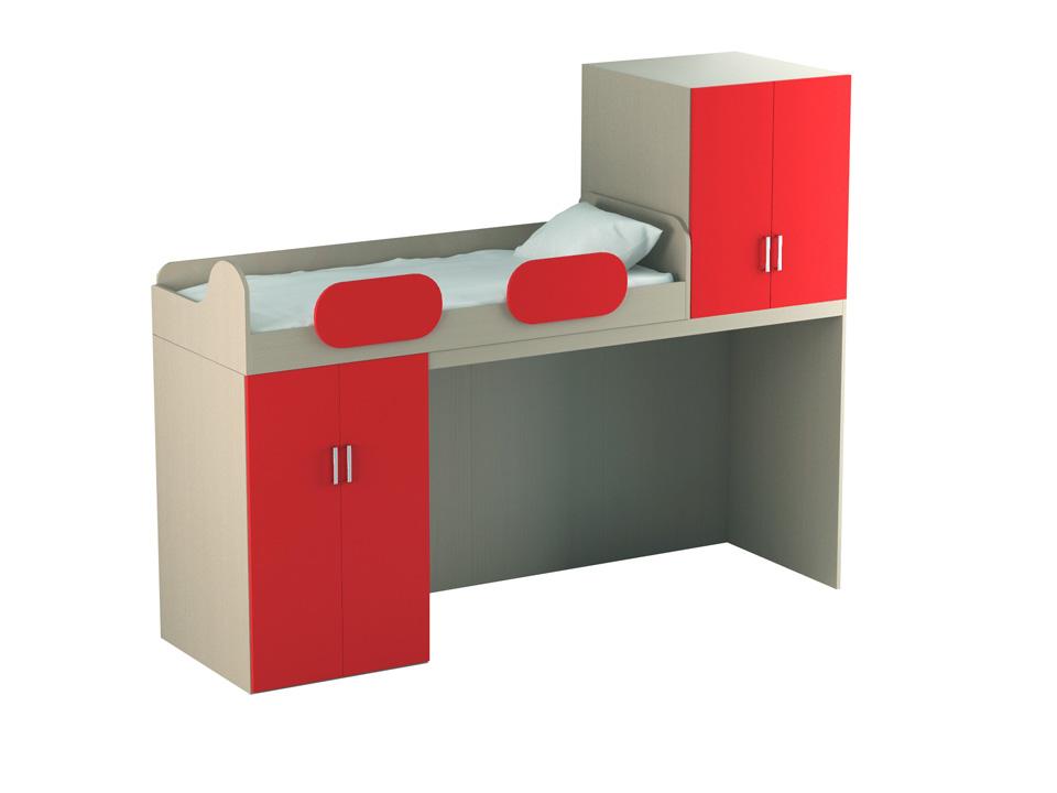 Кровать-чердак с нижним и верхним шкафами Mio