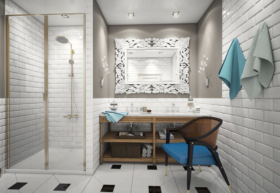 Фотография: Ванная в стиле Эклектика, Квартира, Дома и квартиры, Проект недели – фото на InMyRoom.ru