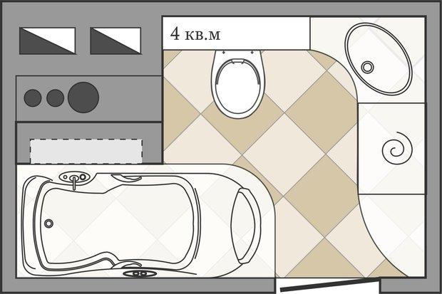 Фотография: Гостиная в стиле Современный, Ванная, Перепланировка, ИП-46с, Анастасия Киселева – фото на InMyRoom.ru