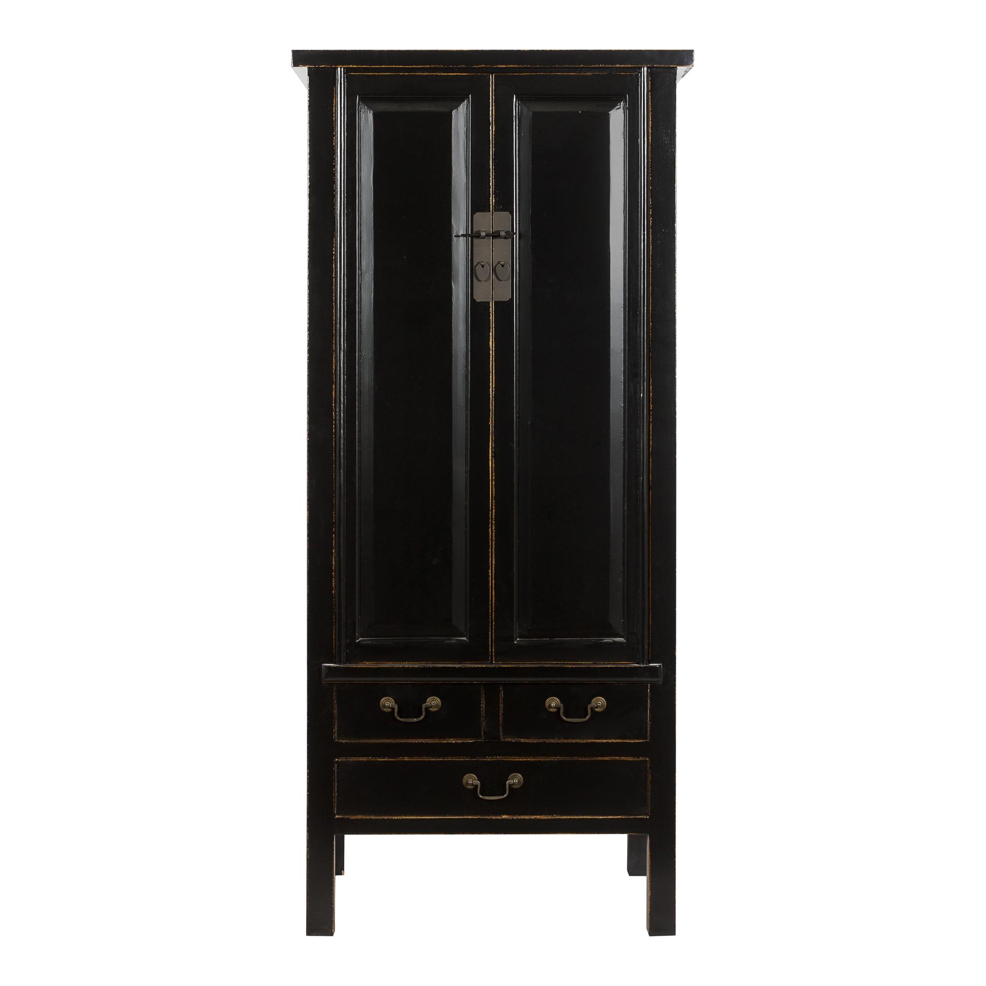 Шкаф с полками и ящиками черного цвета