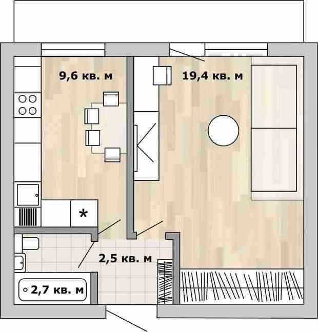 Фотография:  в стиле , Перепланировка, Анастасия Киселева, Максим Джураев, дом серии И209-А, как обустроить однокомнатную квартиру в блочном доме, перепланировка однушки в блочном доме, Блочный дом – фото на InMyRoom.ru