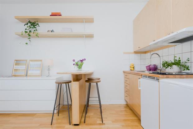 Фотография: Кухня и столовая в стиле Скандинавский, Малогабаритная квартира, Квартира, Дома и квартиры, Проект недели – фото на InMyRoom.ru