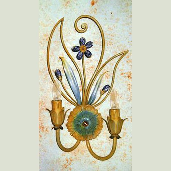 Купить Бра Alba Lamp из металла с патиной желтого и голубого цвета, inmyroom, Италия