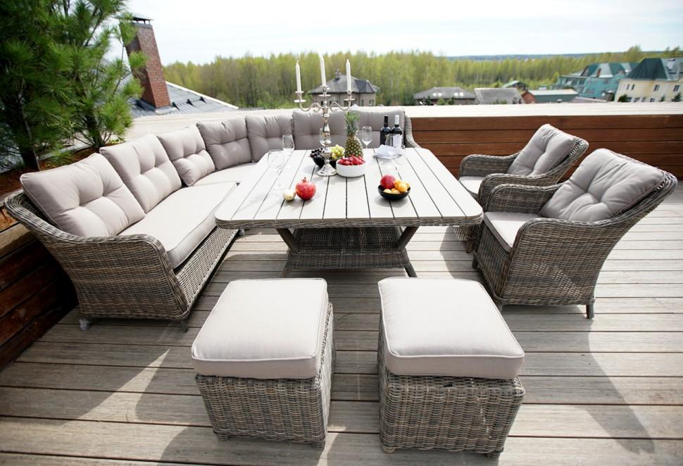 Комплект мебели из ротанга уголок сорренто обеденная группа