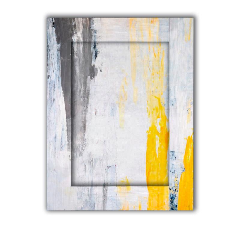 Картина желтый, серый и белый с арт рамой 80х100