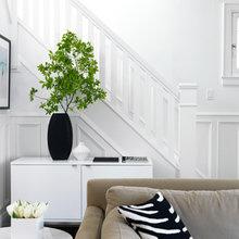 Фотография: Гостиная в стиле Современный, Кухня и столовая, Декор интерьера, Декор дома, Цвет в интерьере, Белый, Камин, Бирюзовый – фото на InMyRoom.ru