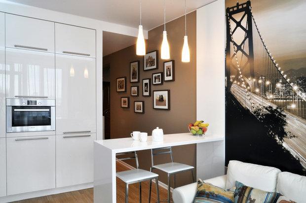 Фотография: Кухня и столовая в стиле Современный, Гостиная, Малогабаритная квартира, Квартира, Интерьер комнат, Фотообои – фото на InMyRoom.ru