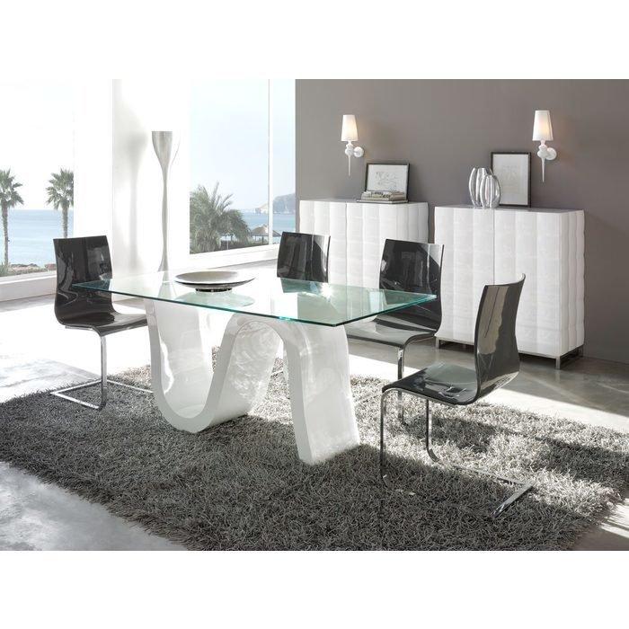 Обеденный Стол DUPEN с фигурным глянцевым каркасом и стеклянной столешницей