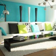 Фотография: Гостиная в стиле Современный, Декор интерьера, Дизайн интерьера, Цвет в интерьере, Бирюзовый – фото на InMyRoom.ru