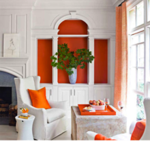 Фотография: Гостиная в стиле Кантри, Дом, Цвет в интерьере, Дома и квартиры, Оранжевый – фото на InMyRoom.ru