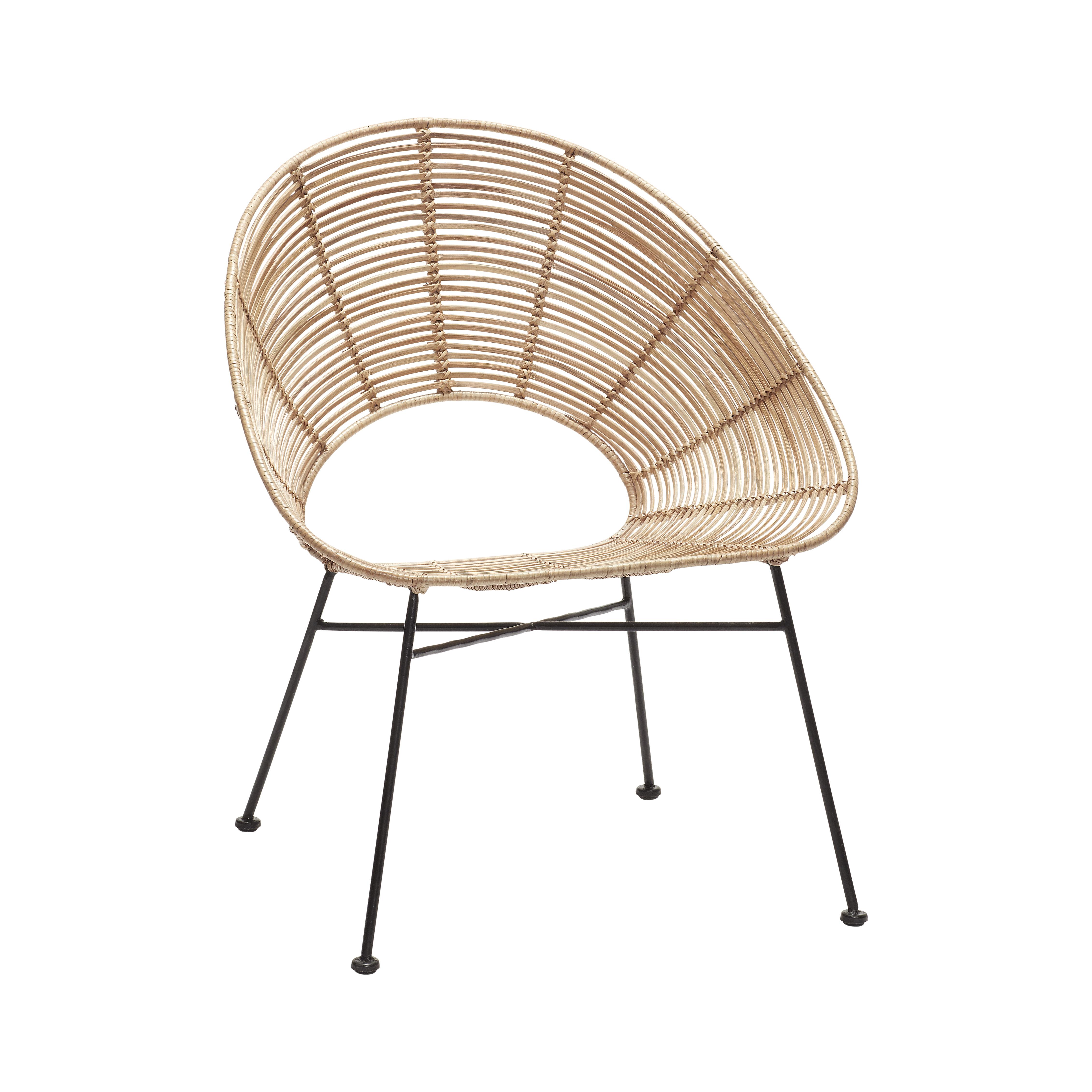 Кресло плетенное из ротанга натурального цвета