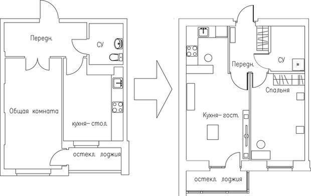 Фотография: Гостиная в стиле Классический, Кухня и столовая, Малогабаритная квартира, Квартира, Дома и квартиры – фото на InMyRoom.ru
