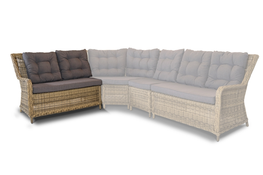 Купить со скидкой Плетеный левый модуль дивана бергамо серо-желтый