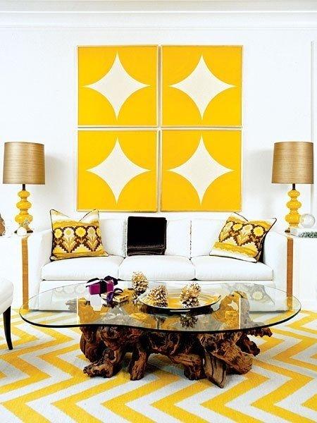 Фотография: Гостиная в стиле Скандинавский, Эклектика, Декор интерьера, Дизайн интерьера, Цвет в интерьере, Желтый – фото на InMyRoom.ru