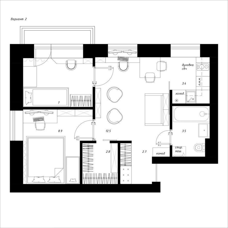 Фотография:  в стиле , Квартира, Перепланировка, Москва, Никита Зуб, 3 комнаты, 40-60 метров – фото на InMyRoom.ru