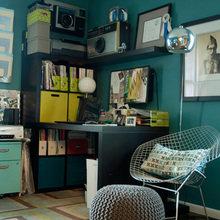 Фотография: Кабинет в стиле Лофт, Квартира, Дома и квартиры, Камин, Стеллаж, Принт – фото на InMyRoom.ru