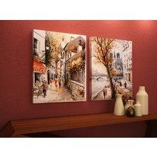 Красивый диптих на холсте: Улочки в акварели