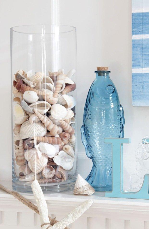 Фотография:  в стиле , Декор интерьера, Декор, Белый, Синий, Эко, Нина Романюк, морской стиль в интерьере, полоска в интерьере, пляжный стиль – фото на InMyRoom.ru