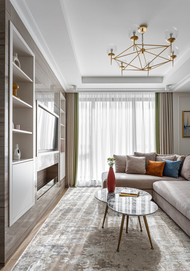 Фотография: Гостиная в стиле Современный, Квартира, Проект недели, Москва, 3 комнаты, Более 90 метров, Balcon – фото на INMYROOM