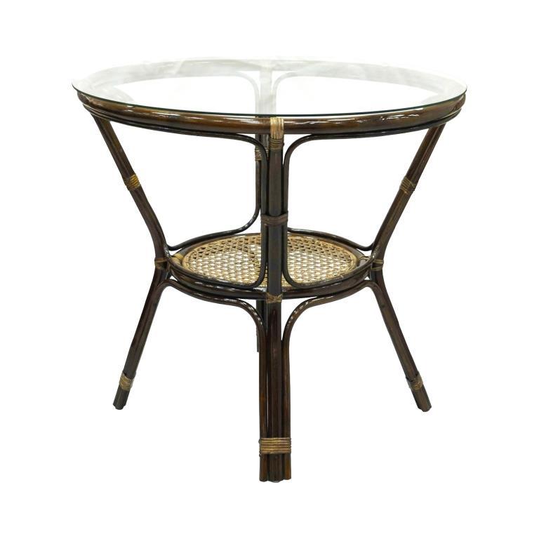 Купить Стол обеденный Ellena из ротанга со стеклянной столешницей, inmyroom, Индонезия