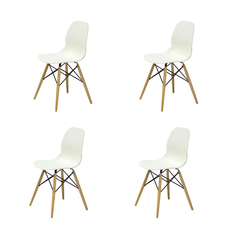 Купить Набор из 4-х стульев на деревянных ножках белый, inmyroom, Китай