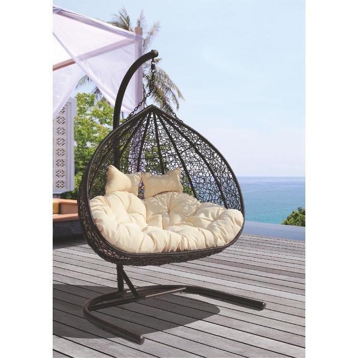 Кресло подвесное для двоих Gemini черного цвета