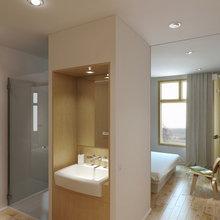 Фотография: Ванная в стиле Минимализм, Малогабаритная квартира, Квартира, Цвет в интерьере, Дома и квартиры, Белый – фото на InMyRoom.ru