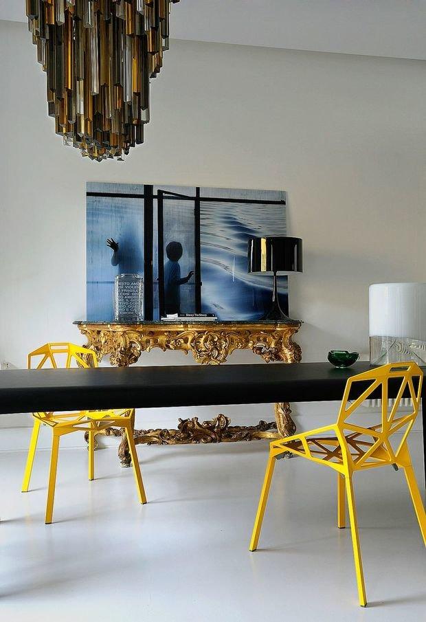 Фотография: Кухня и столовая в стиле Эклектика, Декор интерьера, Дизайн интерьера, Цвет в интерьере, Желтый – фото на InMyRoom.ru