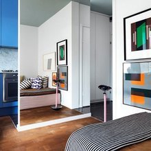 Фотография: Спальня в стиле Современный, Малогабаритная квартира, Квартира, Советы, Бежевый, Бирюзовый, Зонирование, как зонировать комнату, как зонировать однушку, как зонировать однокомнатную квартиру – фото на InMyRoom.ru