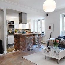 Фотография: Кухня и столовая в стиле Скандинавский, Малогабаритная квартира, Квартира, Студия, Планировки – фото на InMyRoom.ru