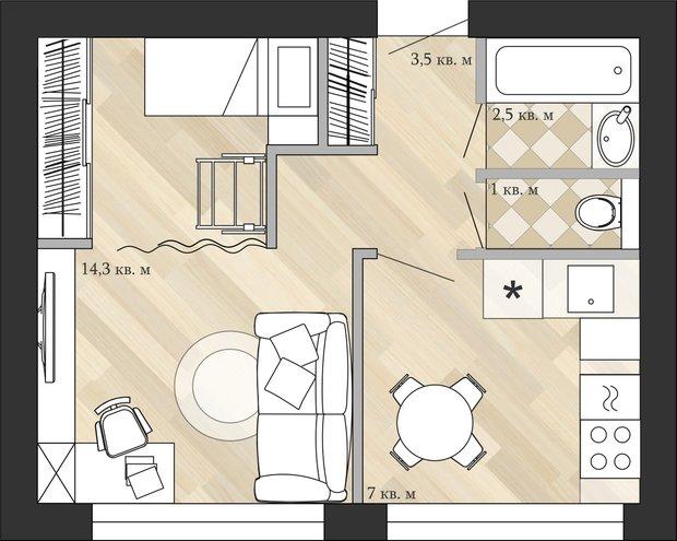 Фотография: Планировки в стиле , Кухня и столовая, Малогабаритная квартира, Перепланировка, Анастасия Киселева, Максим Джураев, дом серии 1МГ-601 – фото на InMyRoom.ru