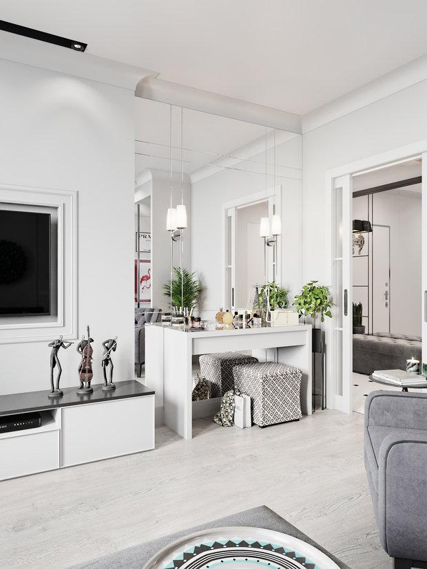 Фотография: Гостиная в стиле Современный, Квартира, Проект недели, Даша Ухлинова, Зеленоград, ГМС-1, 2 комнаты, 40-60 метров – фото на INMYROOM