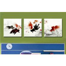 Триптих на холсте: Золотые рыбки